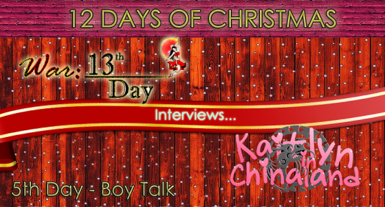 Promotional header for the interview between English otomes, War: 13th Day and Kaitlyn in Chinaland.